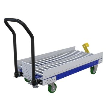 Conveyor push cart most commonly used for transportation of pallets.