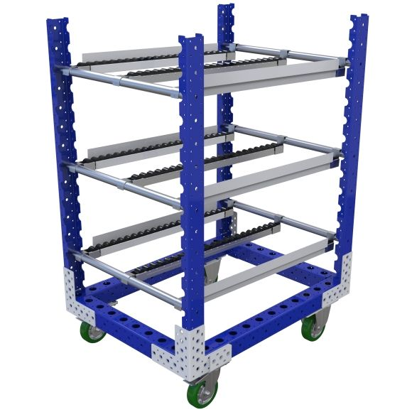 Three-level flow rack most commonly used for line-side presentation of bins and totes.