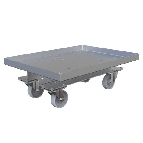 Flat deck cart designed to fit a Liftrunner e-frame and to transport boxes and containers across the shop floor.
