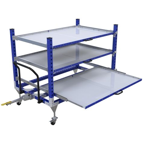 Tuggable shelf kit cart in three levels.