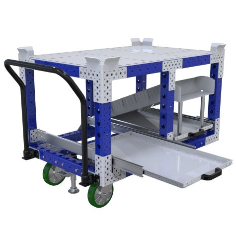 Push cart designed to transport pallets and containers.