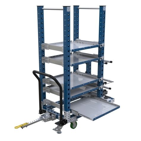 A tuggable kitting cart that can be transported both manually and in a tugger train.