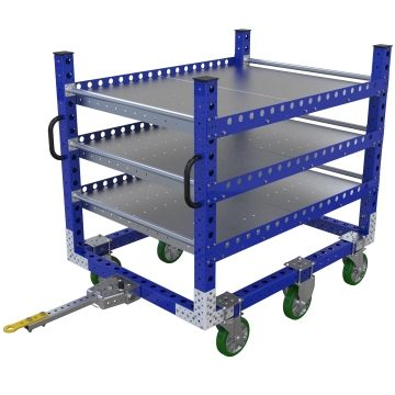 Three-level flat shelf cart designed to transport boxes within a warehouse.