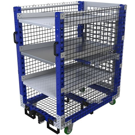 Flow shelf cart designed to transport different parts, totes or boxes.