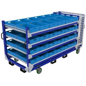 This shelf cart was custom-designed for a project to manufacture trains and is designed to improve the transportation of bins and totes from the warehouse to the assembly line.