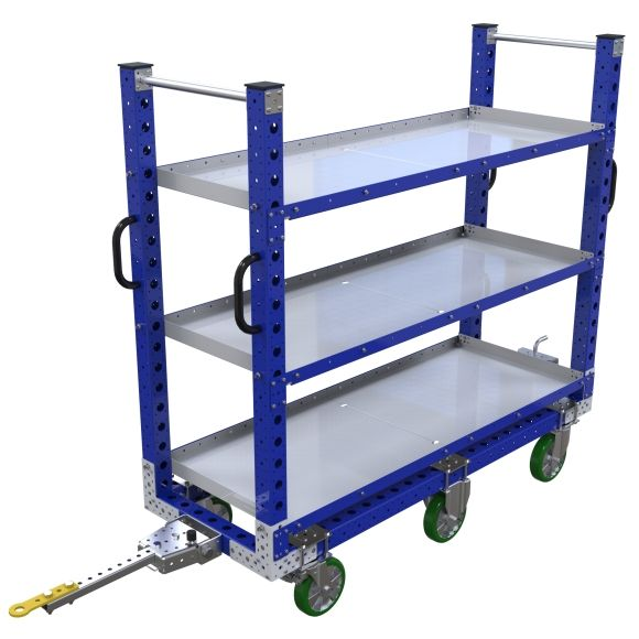 This flat shelf cart was designed to transport totes, bins, and boxes.