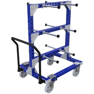 This cart was designed to store and transport rolls, coiled hoses, or similar products hanging on the tube hangers.