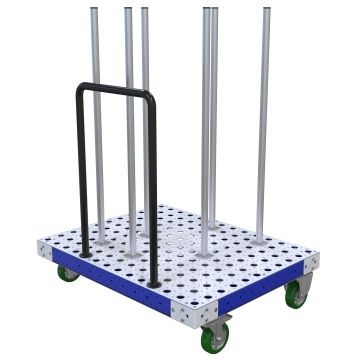 Flat deck push cart with vertical tubes specially designed to hold circular/cylindrical components.