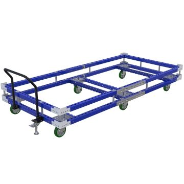 Tuggable pallet/container cart, designed to transport large pallets.