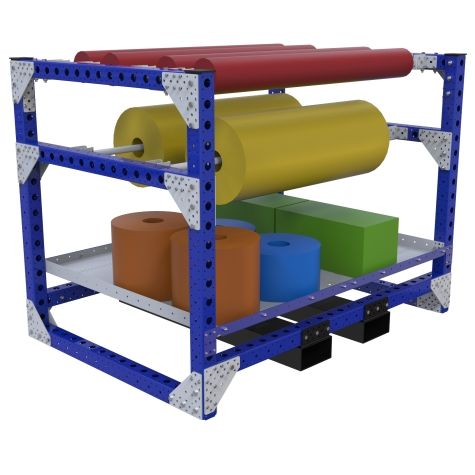 Kit Rack designed to store and transport large heavy rolls.