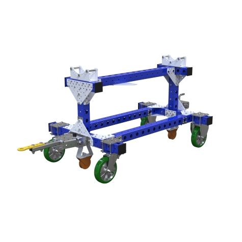 This cart was designed to store and transport large cylinders while allowing the operator to perform assembly on the part.