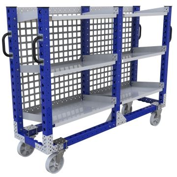 Flow shelf push cart most commonly used to store and transport totes, bins, and boxes.