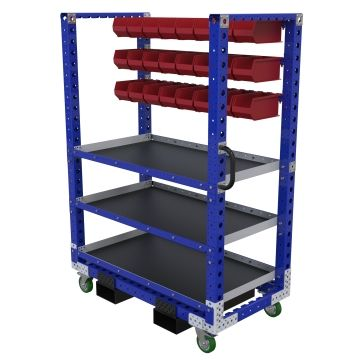 This cart comes equipped with three shelves as well as three levels used to hang bins.