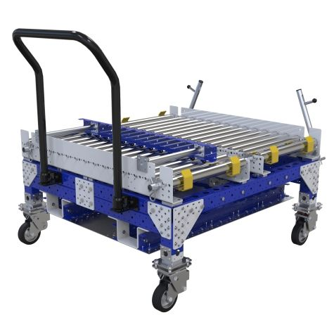 Conveyor cart spacially designed to be used in combination with an order picker.