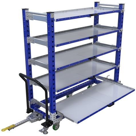 Tuggable five-level extendable flat shelf cart, most commonly used for the transportation of totes/bins/boxes or loose components.