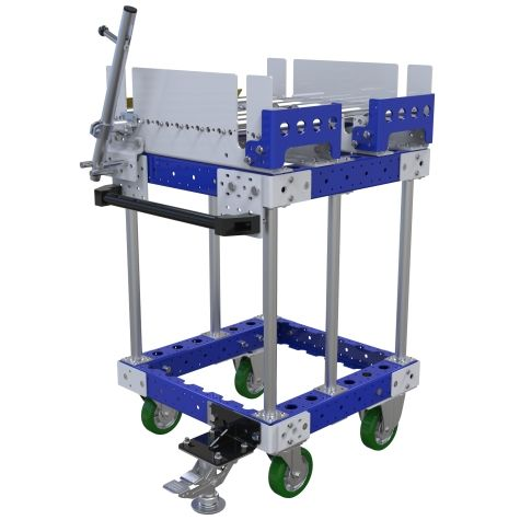 Conveyor push cart most commonly used for the transportation of pallets or containers.