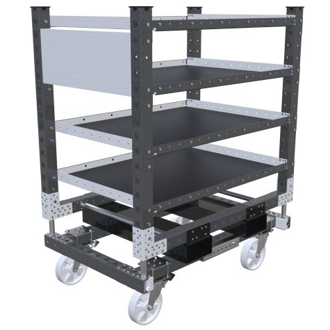 Four levels flat shelf cart.