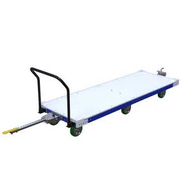 Tuggable flatbed pallet/container cart.