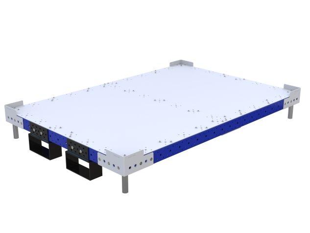 Flat deck platform with fork pockets.