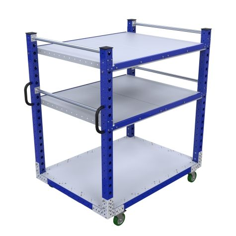 Three-level flat shelf push cart.