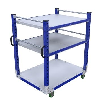 Three-level flat shelf push cart.