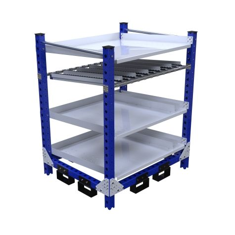 Four-level flow rack most commonly used for line-side presentation of bins and totes.