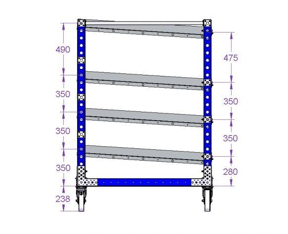 Flow shelf cart 1400 x 1260 mm