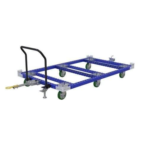 Tuggable pallet cart, since it doesn't have a flatbed it can only be used for specific pallet/ container sizes.