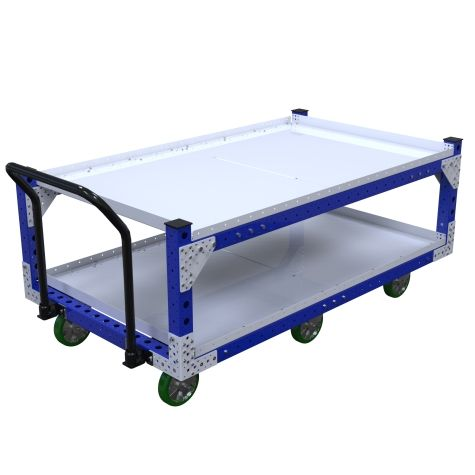 This push cart is designed for transporting containers and boxes on two levels.