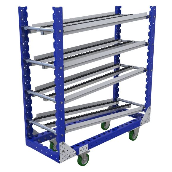 Moveable flow rack with four delivery level and one return level.