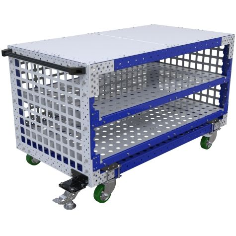 Push cart in three levels, two shelves, and a top-level to be used as a table.
