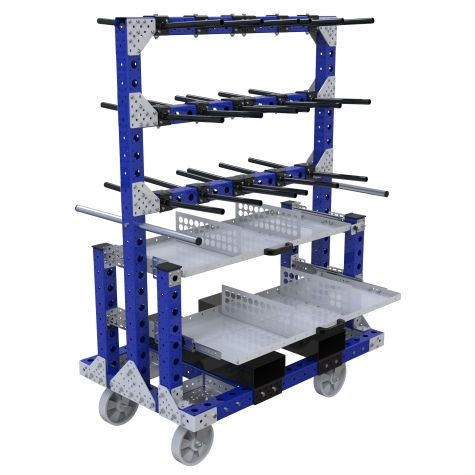 Cart designed to store and transport hanging components.