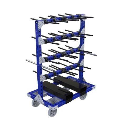 Cart specially designed for hanging parts.