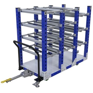 Tuggable three-section flow rack most commonly used for the line-side presentation of bins and totes.
