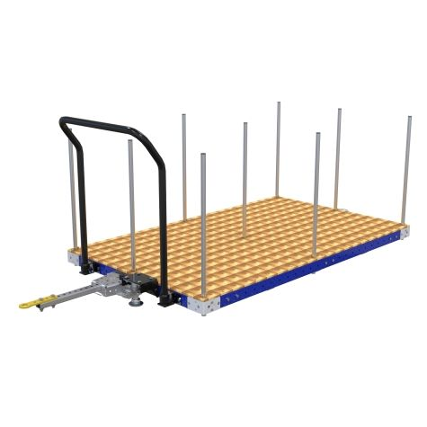 Low rider flat deck cart designed to transport different materials like boxes, containers, loose parts, etc.
