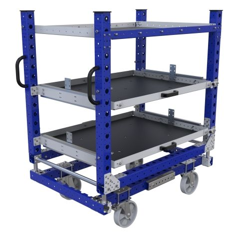 Large extendable shelf cart ideal for transporting medium-sized materials.
