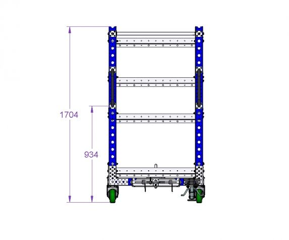 Flat Shelf Tugger cart 70 x 36 inch - 4 Shelves