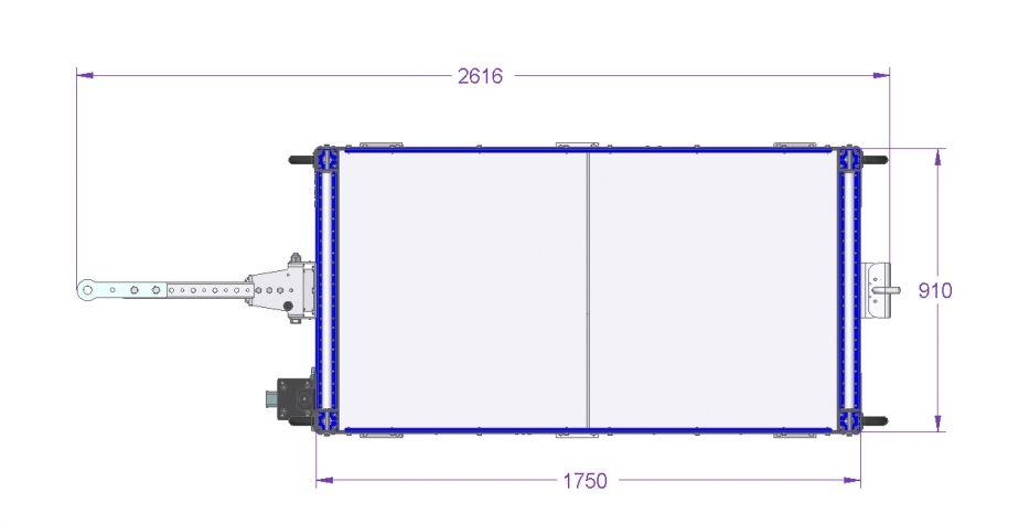 Flat Shelf Tugger Cart 70 x 36 inch - 2 Shelves