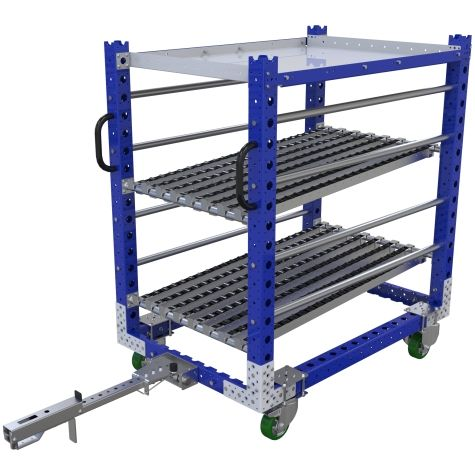 Tugger shelf cart with rollers