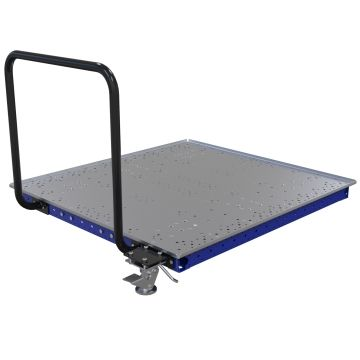 Low rider push cart with steel flat deck