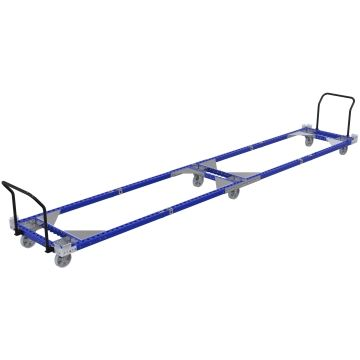 Long transport cart with handlebar