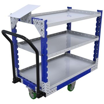Three-level shelf push cart, most commonly used for transporting totes and boxes but can be used for a wide range of material