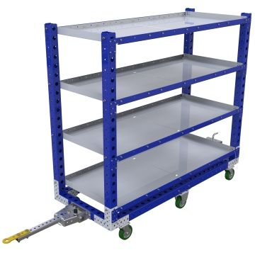Tuggable four-level flat shelf cart.