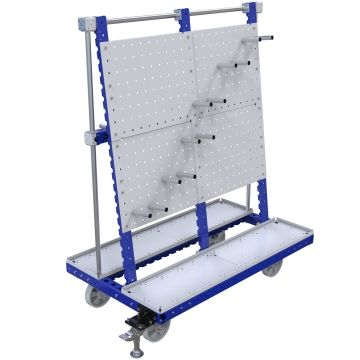 Material handling cart designed to be used in the assembly area to kit various components.