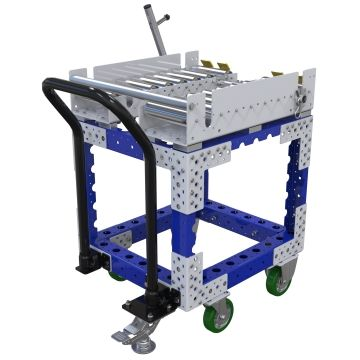 Conveyor push cart most commonly used for the transportation of pallets and containers.