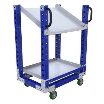 Shelf cart designed with one flat shelf and one flow shelf.