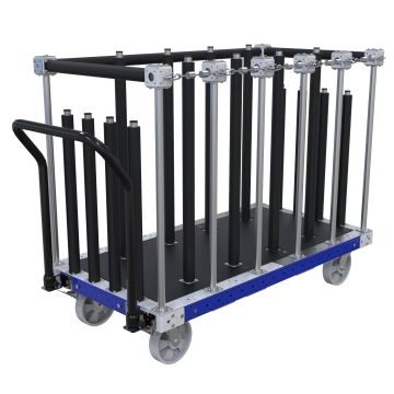 This cart was designed to transport doors and cabinets by hand.