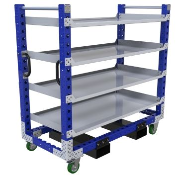 Four levels flat shelf cart.