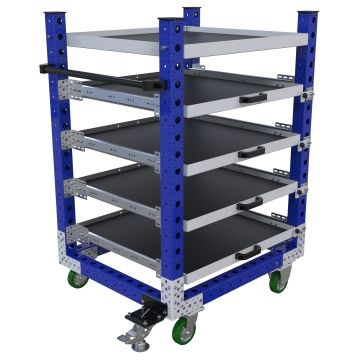 Extendable shelf cart designed for transportation of different materials and parts.
