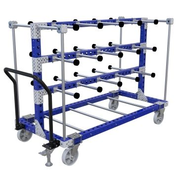 Material handling cart designed for transporting hanging parts.